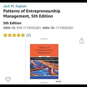 Patterns of Entrepreneurship 5th Edition